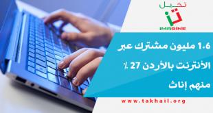 1.6 مليون مشترك عبر الأنترنت بالأردن 27 % منهم إناث