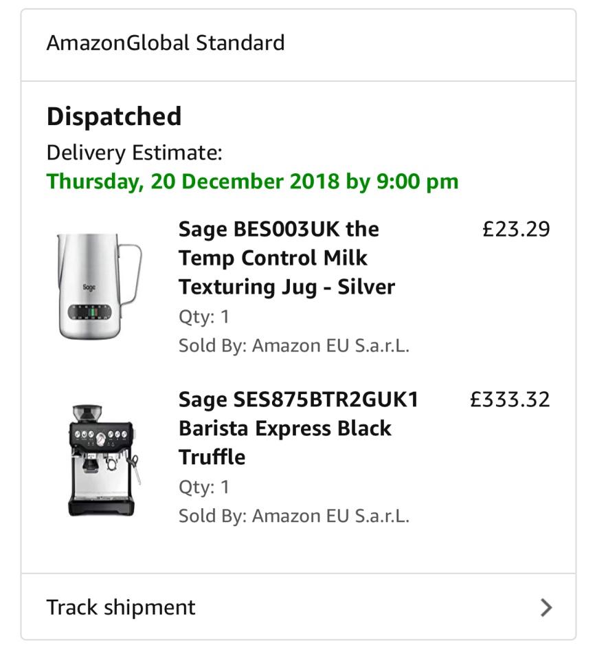 تجربة شراء مكينة قهوة Sage SES875BTR2GUK1 Barista Express Black Truffle1