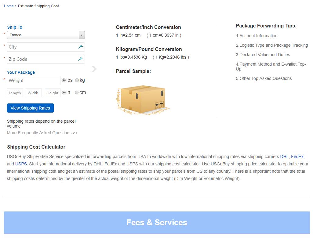 حساب تقدير تكلفة الشحن USGoBuy